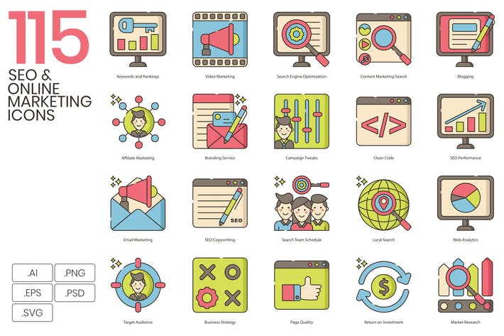 Thumbnail for 115 SEO & Online Marketing Icons | Hazel Series