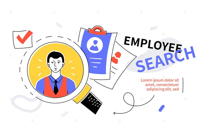 Thumbnail for Employee search - colorful flat design web banner