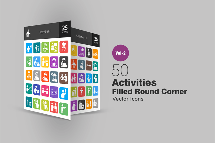 Thumbnail for 50 Activities Filled Round Corner Icons