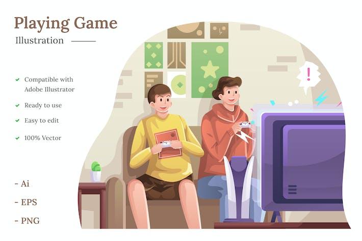 Playing Game Illustration