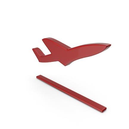 Flugzeug abheben Symbol Rot