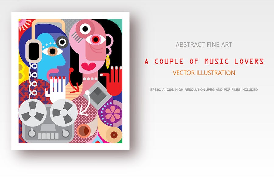 A Couple of Music Lovers vector illustration