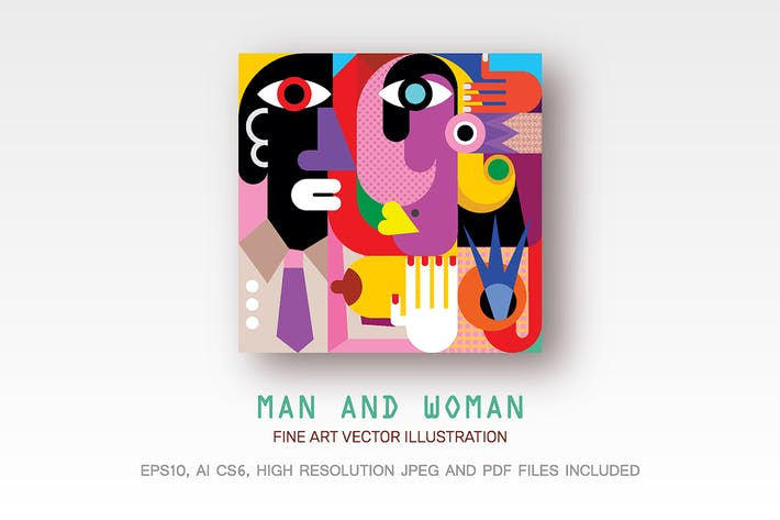 Thumbnail for Man and Woman fine art vector illustration