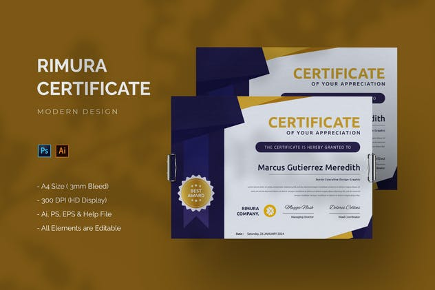 Rimura Company - Certificate Template