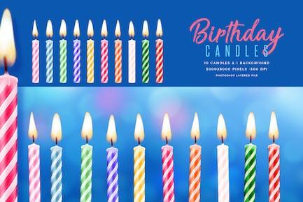 Velas de cumpleaños y fondo