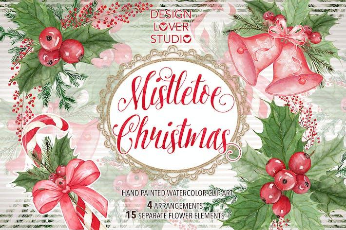 Thumbnail for Diseño de acuarela «Muérdago Navidad»