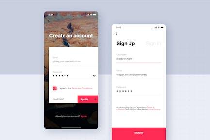 Login & Registration Forms UI Mobile template