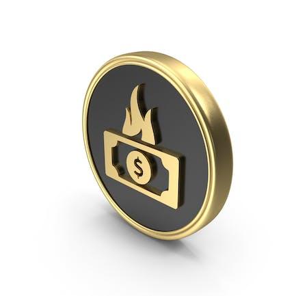 Dollar Money Fire Coin LogoSymbol Icon