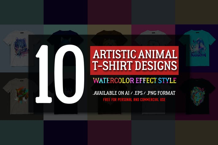 Thumbnail for 10 Artistic Animal T-shirt Designs