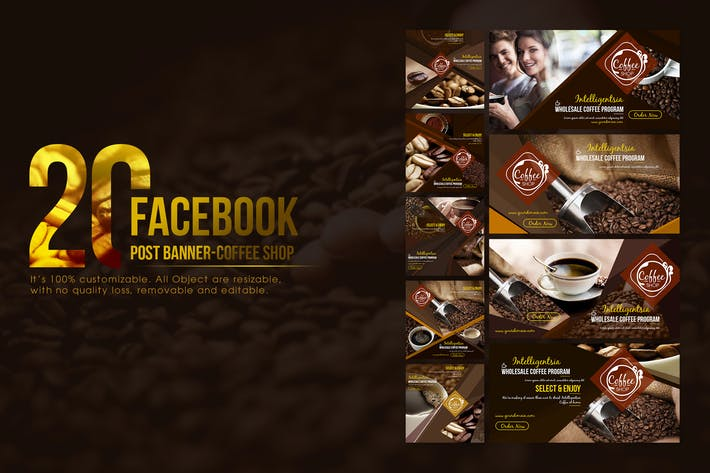 Thumbnail for 20 Facebook Post Banner- Coffee Shop