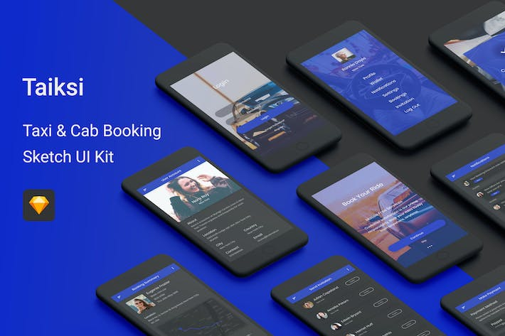 Thumbnail for Taiksi - Taxi & Cab Booking Sketch UI Kit