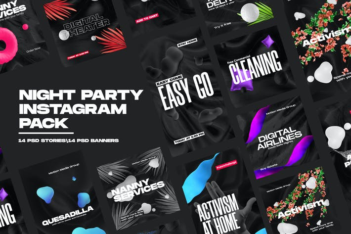 Thumbnail for Night Party Instagram Pack