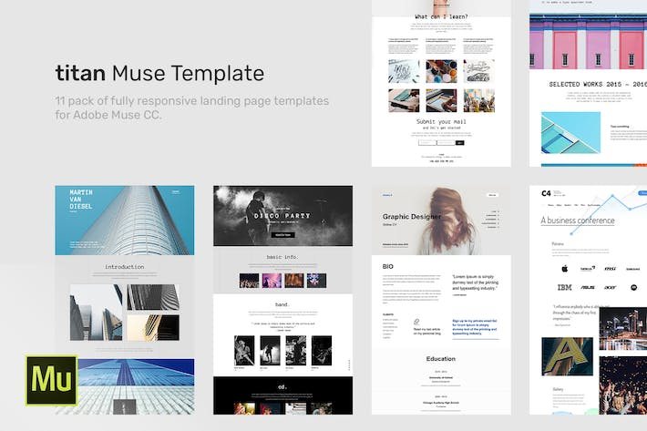 Thumbnail for Titan - Responsive Muse Templates for Landing Page