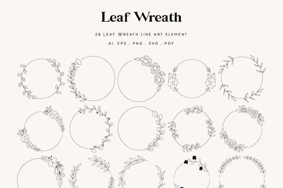 29 Leaves Wreath  and Laurels Element