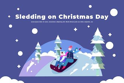 Trineo en el día de Navidad - Ilustración de Actividad