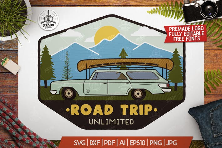 Thumbnail for Road Trip Mountain Logo / Vintage Camp Badge Patch