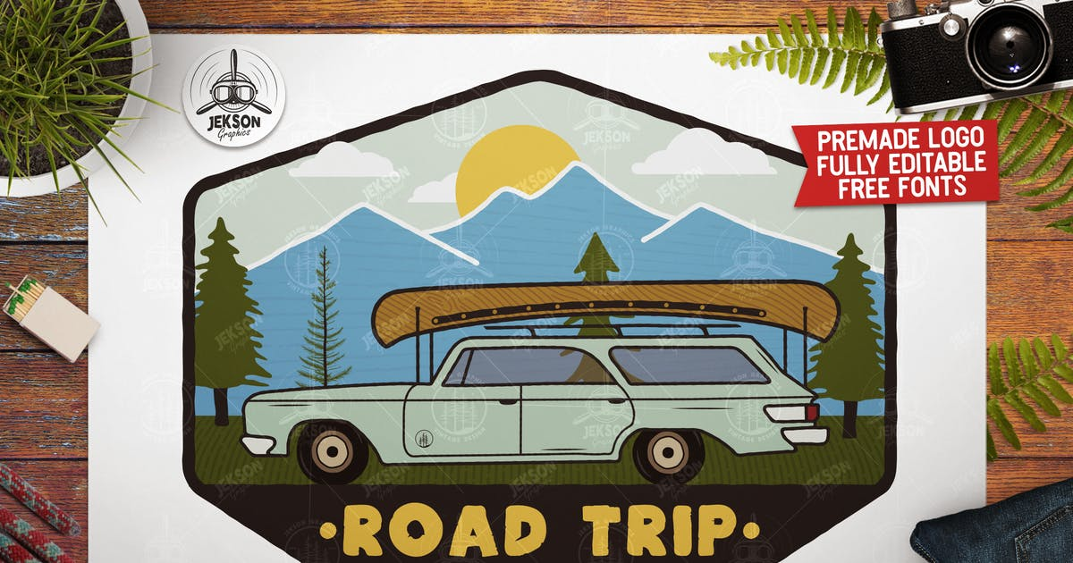 Download Road Trip Mountain Logo / Vintage Camp Badge Patch by JeksonJS