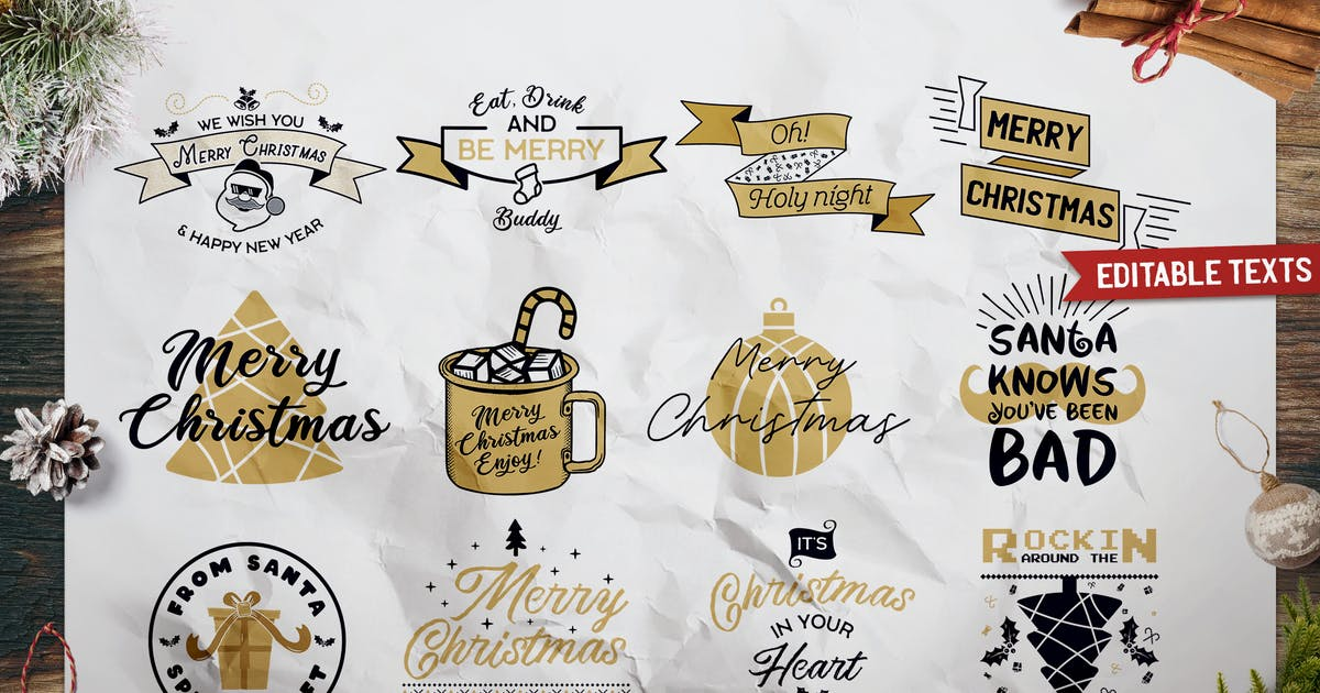 Download Christmas Prints Design Bundle. Vector Xmas TShirt by JeksonJS