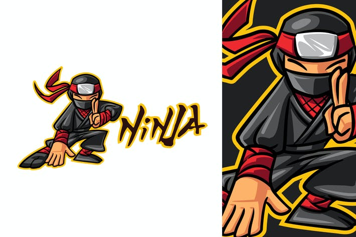 Thumbnail for Cartoon Ninja Mascot Logo 2.0