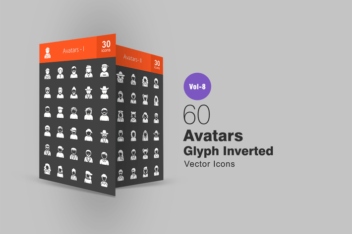 Thumbnail for 60 Avatars Glyph Inverted Icons