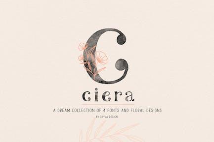 Ciera watercolor svg font, florals & logos