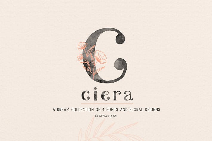 Thumbnail for Ciera aquarelle svg police, fleurs & Logos