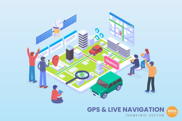 Thumbnail for Isometric GPS & Live Navigation Vector Concept
