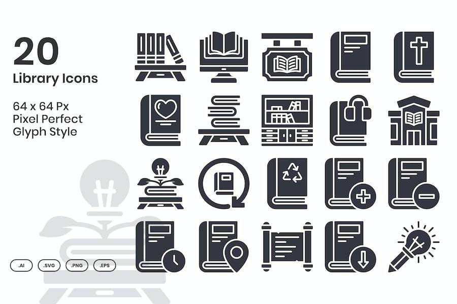 20 Bibliothekssymbole eingestellt - Glyph