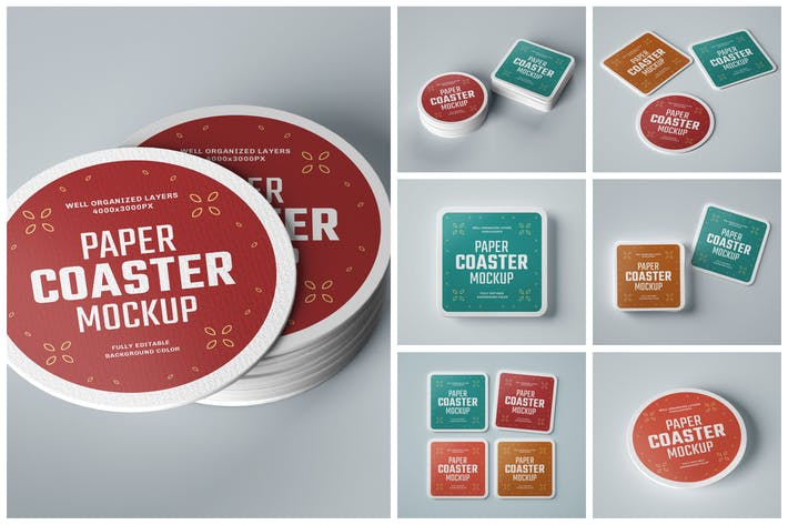 Thumbnail for Paper Beverage Coaster Mockup Set
