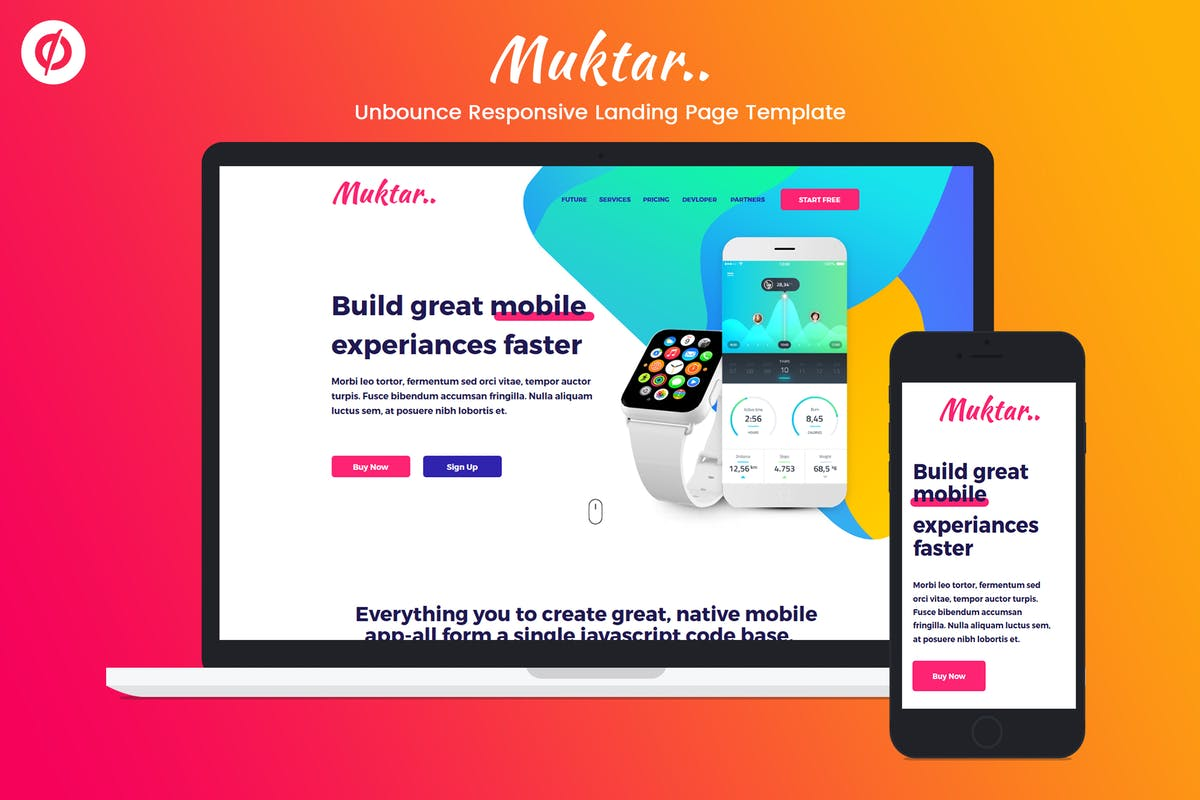 Download Unbounce Responsive Landing Page Template - Muktar by ILMThemes by Unknow