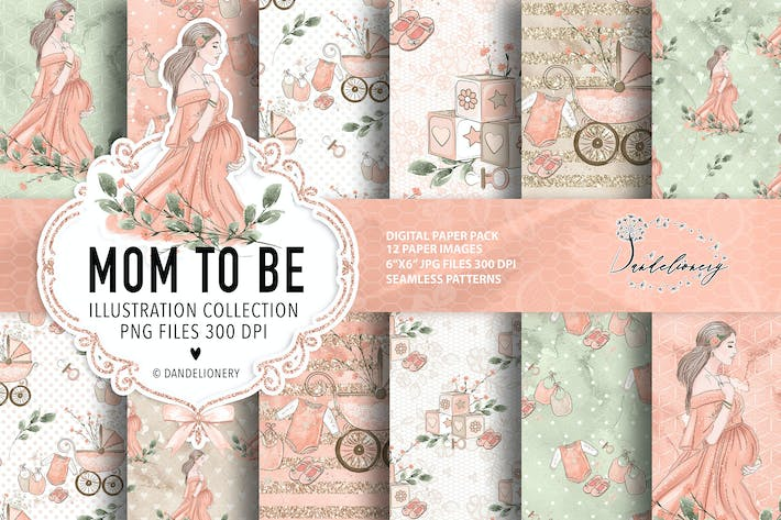Thumbnail for Mom to be Maternity digital paper pack