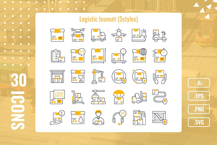 Thumbnail for 30 Iconset Logistics with 5 styles variant