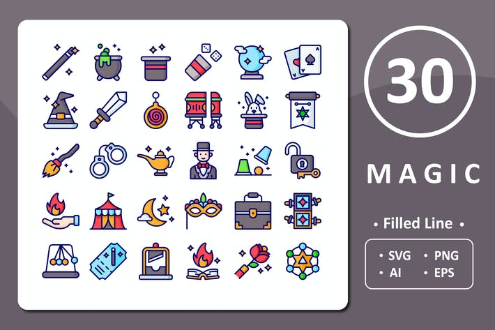 Thumbnail for 30 Magic Icons - Filled Line