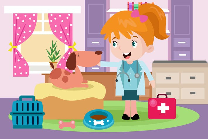 Thumbnail for Little Veterinarian - Vector Kids Illustration