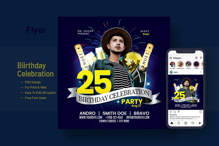Thumbnail for Birthday Celebration Flyer, Instagram Banner V-2