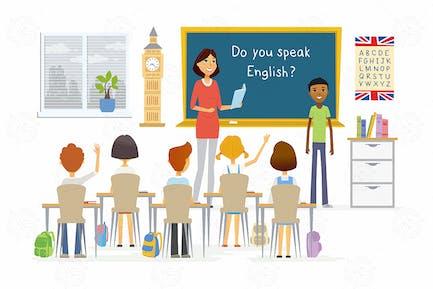English lesson at school - vector illustration