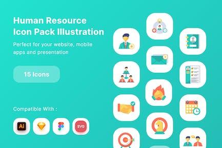 Ilustración del paquete de iconos de recursos humanos