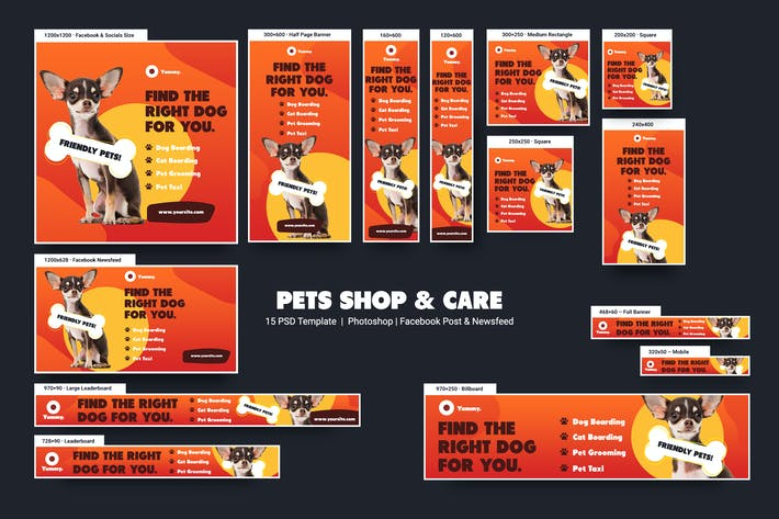 Thumbnail for Pets Shop & Care Banners Ad