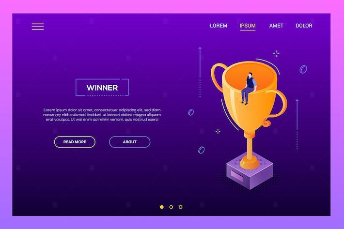 Thumbnail for Winner concept - modern isometric web banner