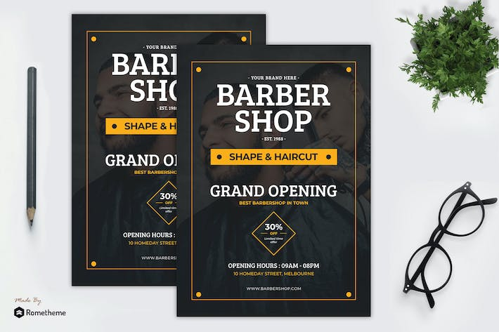 Thumbnail for Barbershop - Grand Opening Flyer Template