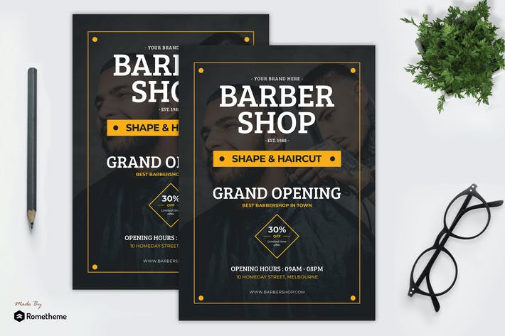 Thumbnail for Barbershop - Grand Opening Flyer Template YR