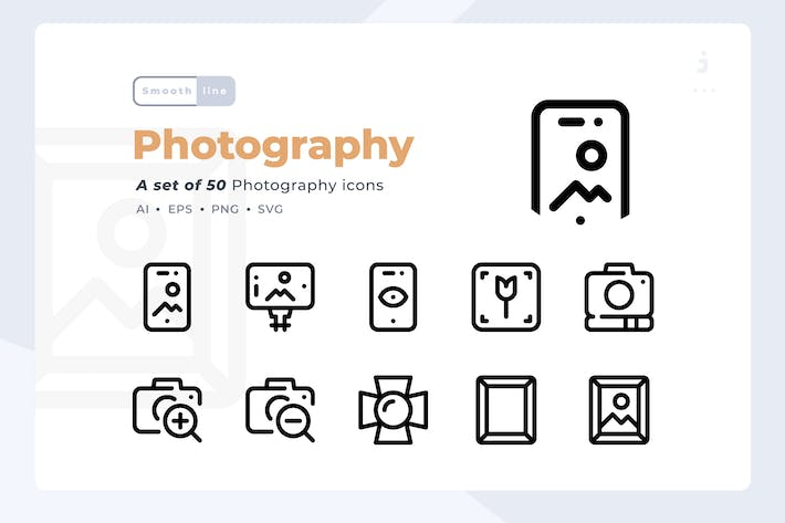Thumbnail for Smoothline - Kit de iconos de Fotografía 50