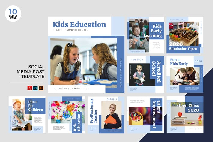 Thumbnail for Children Education Social Media Kit PSD & AI