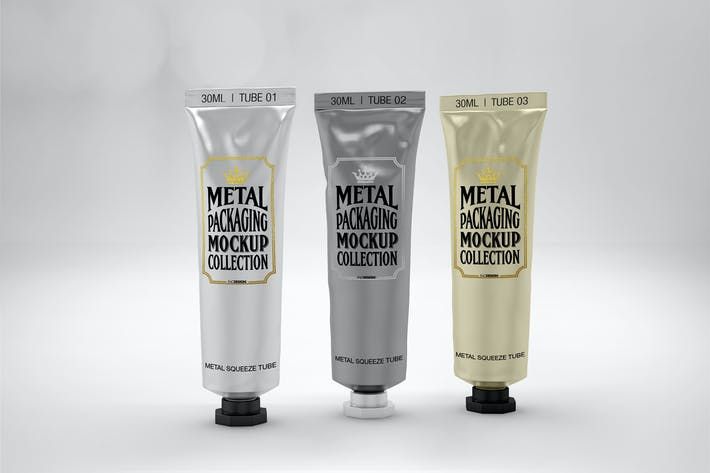 Thumbnail for Metal Squeeze Tubes Packaging Mockup