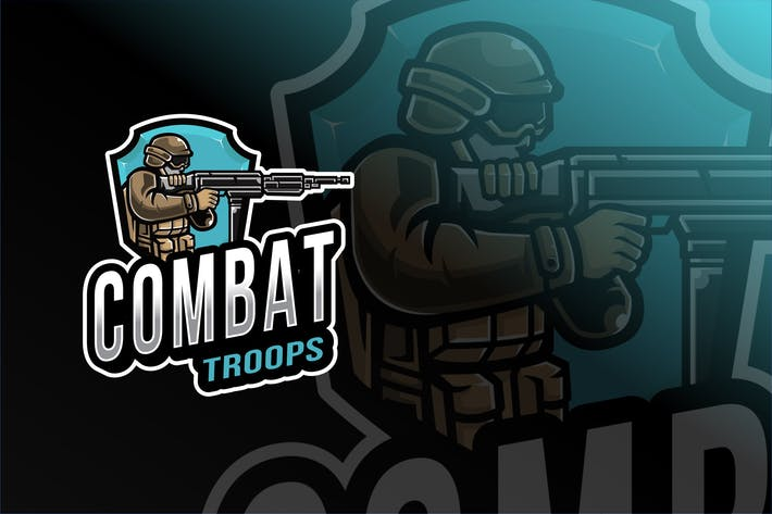 Thumbnail for Combat Troops Esport Logo Template