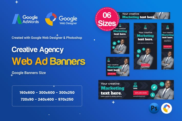 Thumbnail for Creative, Startup Agency Banners HTML5 D61 - GWD