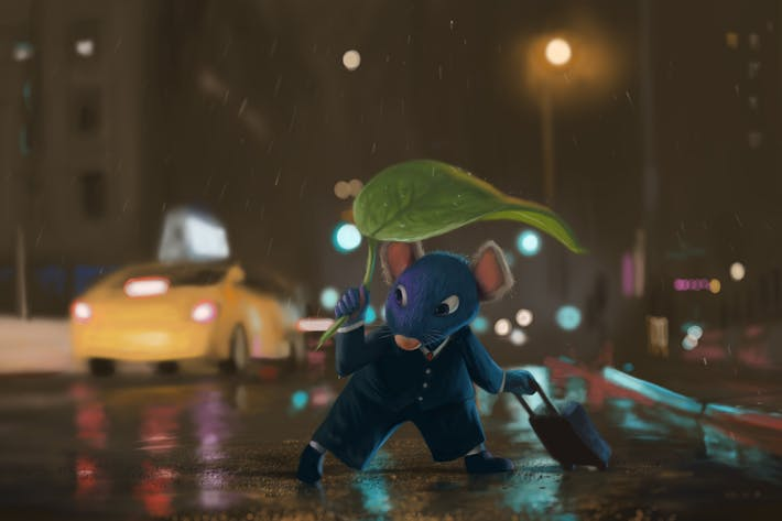 Thumbnail for Mouse in the Rain Hand Drawn Digital Painting
