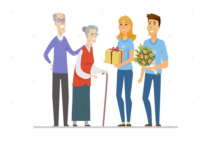 Thumbnail for Volunteers and senior people - flat illustration