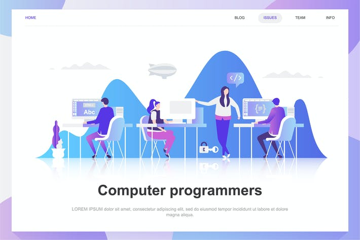 Cover Image For Computer Programmers Flat Concept