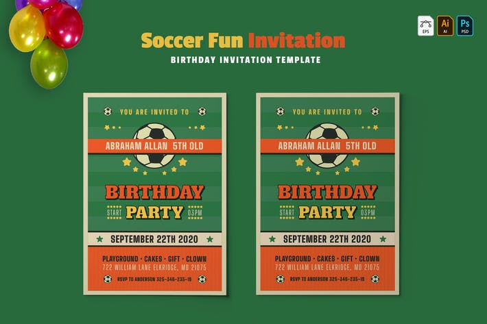 Thumbnail for Fun de football | Invitation d'anniversaire